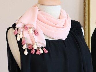 【再販】レースの薔薇付きシフォンストール「ローズ/2辺」ベビーピンクの画像