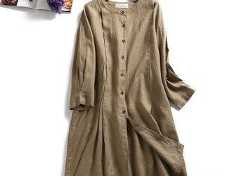 f8031502 着こなしに差をつける 麻のロングシャツ ワンピース 薄手ロングアウターの画像