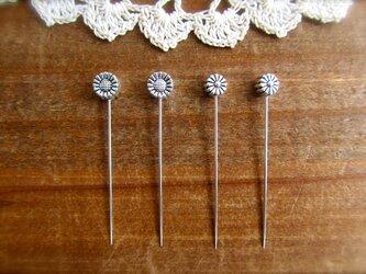 *再販* シルバーメタル小さなお花ビーズの待ち針 2種4本セットの画像