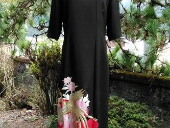 着物リメイク 留袖五分袖ワンピース マキシ丈の画像
