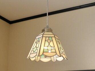 ペンダントライト・シャボン淡い水色(ステンドグラス)天井のおしゃれガラス照明 Lサイズ・18の画像