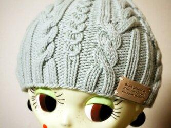 オーガニックウールのニット帽【ワスレナグサ】の画像