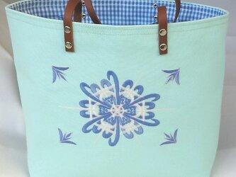 刺繍入り帆布トートバッグ オーナメント6 ミントグリーンの画像