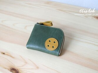 """ちいさなお財布 """"おっきなボタン(グリーン×イエロー)"""" イタリアレザーの画像"""