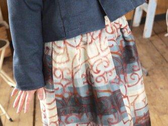 男性ウール着物地パーカー&銘仙スカートの画像
