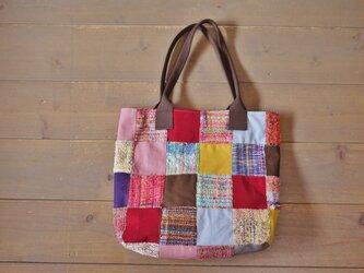 手織り パッチワークトートバッグの画像