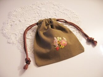 ミニサイズお花刺繍入り巾着の画像