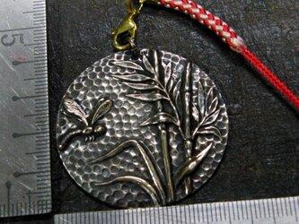 真鍮製 トンボと竹デザイン和風根付ストラップ 着物や浴衣の帯飾り・かんざしパーツとしての画像