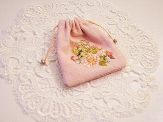 アクセサリー&お菓子入れ刺繍入りミニ巾着の画像