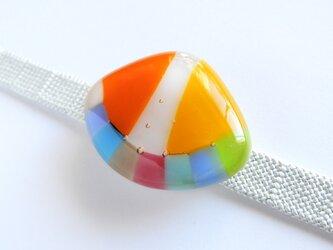 春の海(オレンジ×イエロー)/ガラスの帯留めの画像