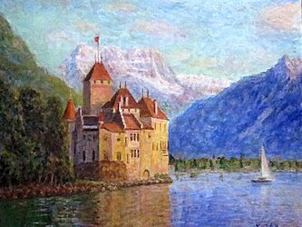 レマン湖に浮かぶ古城の画像