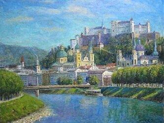 ザルツァッハ川と要塞の画像