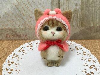 羊毛フェルト 赤ずきんちゃん? くまずきんちゃん にゃんこの画像