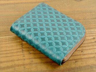 L字ファスナーの小さなお財布(七宝柄・ターコイズブルー)の画像