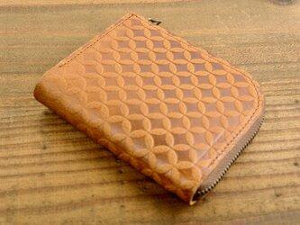 L字ファスナーの小さなお財布(七宝柄・ライトブラウン)の画像
