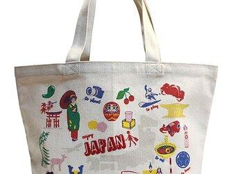 オーガニックコットン手刺繍イラストトートマップ JAPAN 日本マップの画像