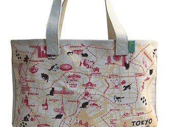 18ozキャンバストートマップ L 東京お散歩猫ちゃんの画像