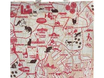 ジュート(麻)のショッピングトートバッグ 東京お散歩猫ちゃんの画像