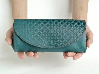 コロンとした長財布 イタリアンレザー/ターコイズブルーの画像