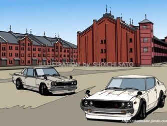 版画作品 横浜イラスト「BAY-SIDE SHOT! 2」 (赤レンガ倉庫とハコスカ&ケンメリを描いたイラスト)の画像
