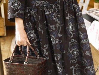 手織り久留米絣ワンピースの画像