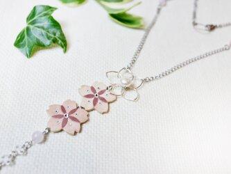 【和紙貼り絵アクセサリー】-夢桜(ゆめさくら)ネックレスBの画像