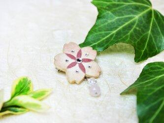 【和紙貼り絵アクセサリー】-夢桜(ゆめさくら)ブローチAの画像