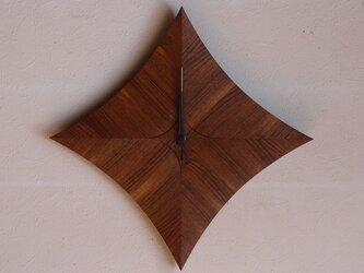 無垢の木の電波掛け時計 チーク 0023の画像