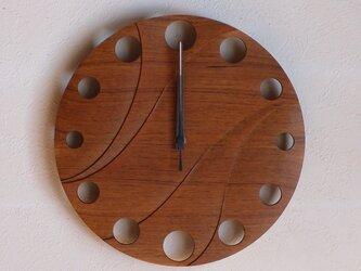 無垢の木の電波掛け時計 チーク 0024の画像