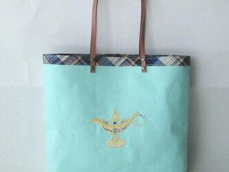 刺繍入り帆布トートバッグ ランプ ミントの画像