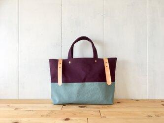 【受注製作】葡萄色と空色の鞄 ヌメ革ベルトの画像