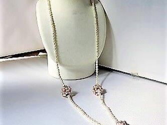 【ロングネックレス】淡水パールと花玉のネックレスの画像