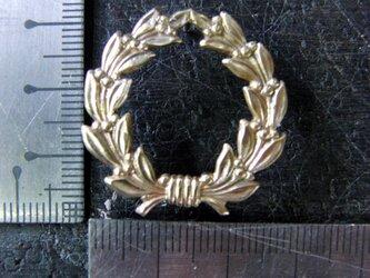 真鍮製 月桂冠・オリーブの冠デザインピンズブローチ 結婚式・シャツジャケットやハットの飾りにの画像