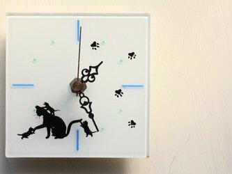 【新作】ガラス製 置き 壁掛け 時計 家族♪の画像