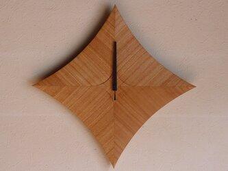 無垢の木の電波掛け時計 タモ 0015の画像