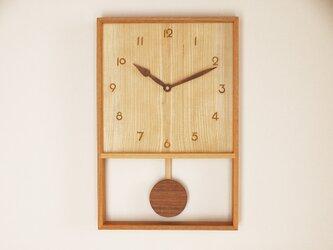 木製 箱型 振り子時計 ケヤキ材5の画像