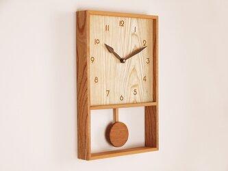 木製 箱型 振り子時計 ケヤキ材6の画像
