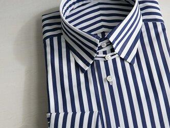 【size M(首廻39)】トーマスメイソン タブカラー ロンドンストライプシャツの画像