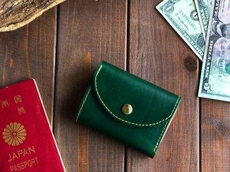 イタリアンレザーを使った緑色の三つ折り財布の画像