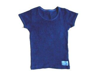 ◆100%自然素材 天然灰汁発酵建て 本藍染◆ オーガニックコットン♡キッズ半袖Tシャツの画像