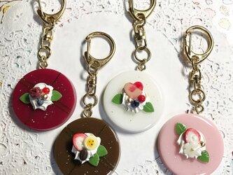 選べる4種類☆彩りケーキのミラーキーホルダーの画像