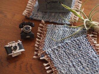 [受注製作]ユーズドデニムの裂き織りミニマットの画像