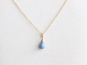 宝石質ブルーコモンオパールのネックレス【K14gf】の画像