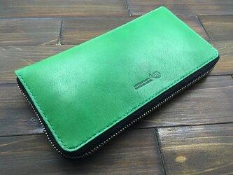 たっぷり入る!人気のラウンドファスナーのお財布(緑)の画像