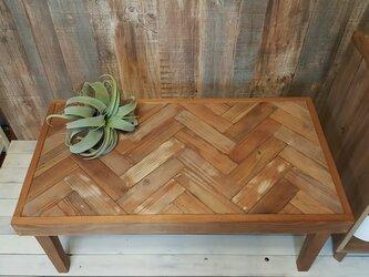 ヘリンボーン柄のローテーブル (木脚・ジャンク仕上げ)  【受注生産】の画像