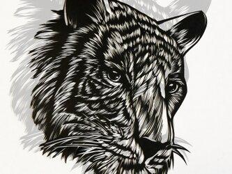 切り絵作品・虎の画像