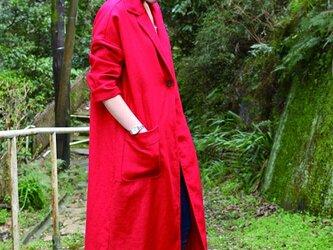 麻のチェスターコートの画像