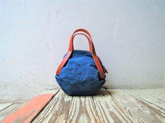 『送料無料』神戸ORZO ナイロンxヌメ革 ボストンバッグS ブルーxキャメル OR331sp Sの画像
