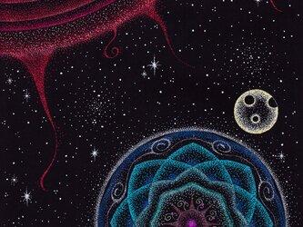 2Lサイズフォトポスター★点描曼荼羅アート【太陽・地球・月】の画像