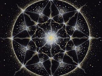2Lサイズフォトポスター★点描曼荼羅アート【魂の光】の画像